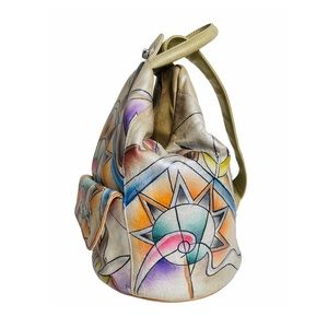 Handpainted Leather Indian Bucket Sling Bag Pastel